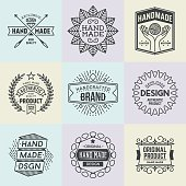 Assorted retro design insignias logotypes set 19. Vector vintage elements.