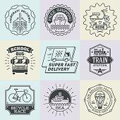 Assorted retro design insignias transport logotypes set. Vector vintage elements.