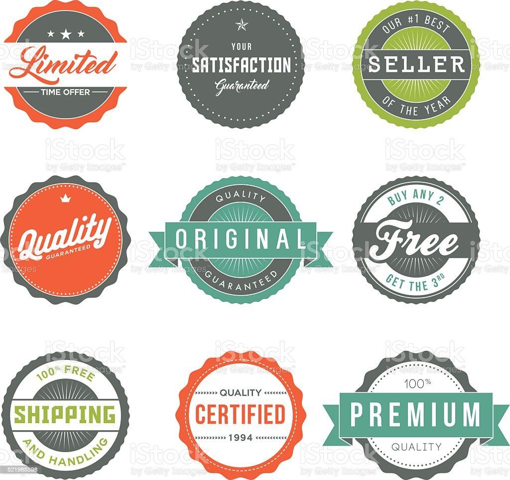 Surtido de Retro etiquetas conjunto de iconos De marketing de producto - ilustración de arte vectorial