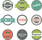 A set of nine vintage-inspired sales stickers or labels, featuring retro typography and a fun bright color palette. Download includes a CMYK AI10 EPS vector file as well as a high resolution JPEG (sized a minimum of 1900 x 2800 pixels).