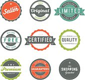Assorted Retro Product Marketing Labels Icon Set