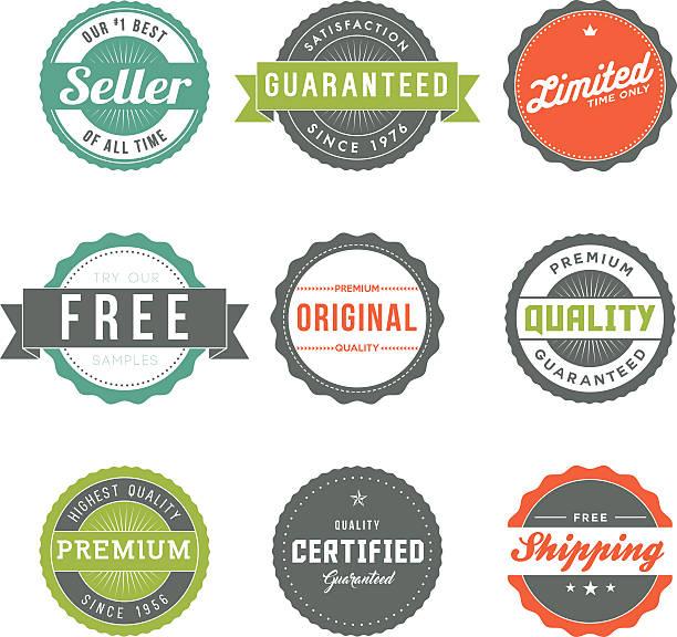 Verschiedenen Retro-Product Vermarktung Etiketten Symbol-Set – Vektorgrafik