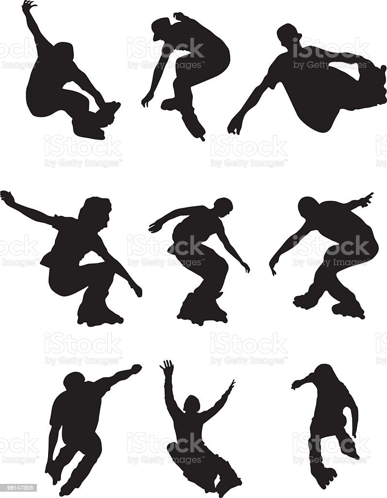 Assorted rollerbladers royalty-free assorted rollerbladers stock vector art & more images of adolescence