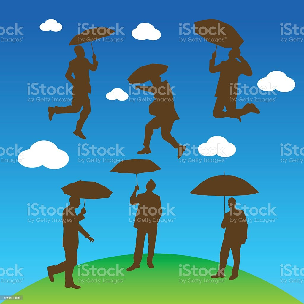Assorted shapes of person with umbrella royalty-free assorted shapes of person with umbrella stock vector art & more images of adult