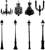 Assorted street lights and chandeliers