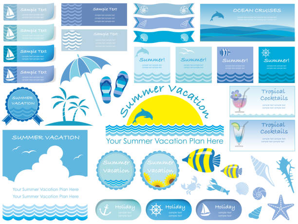 assorted summer info-graphics and signs. - summer background stock illustrations