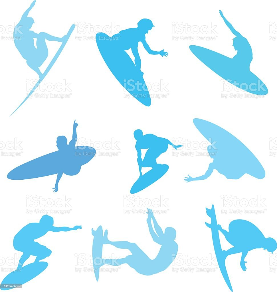 Assorted surfers to use in your design royalty-free stock vector art