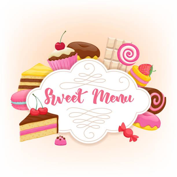 verschiedene süßigkeiten bunten hintergrund. süße menü-design - wackelpuddingkekse stock-grafiken, -clipart, -cartoons und -symbole