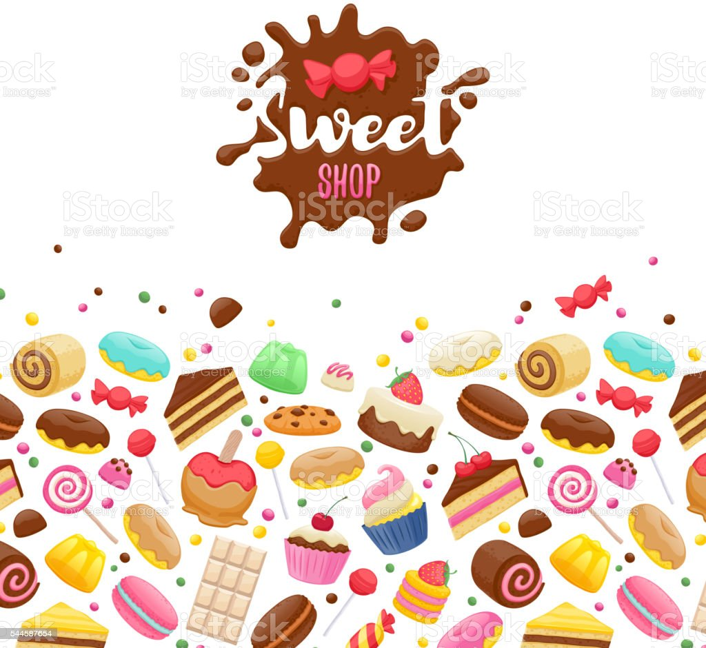 Dulces surtidos fondo colorido. - ilustración de arte vectorial