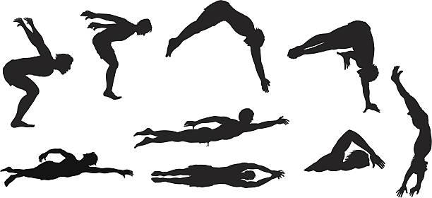 Assorted swimmers vector art illustration