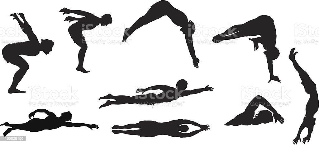 Assorted swimmers vector art illustration