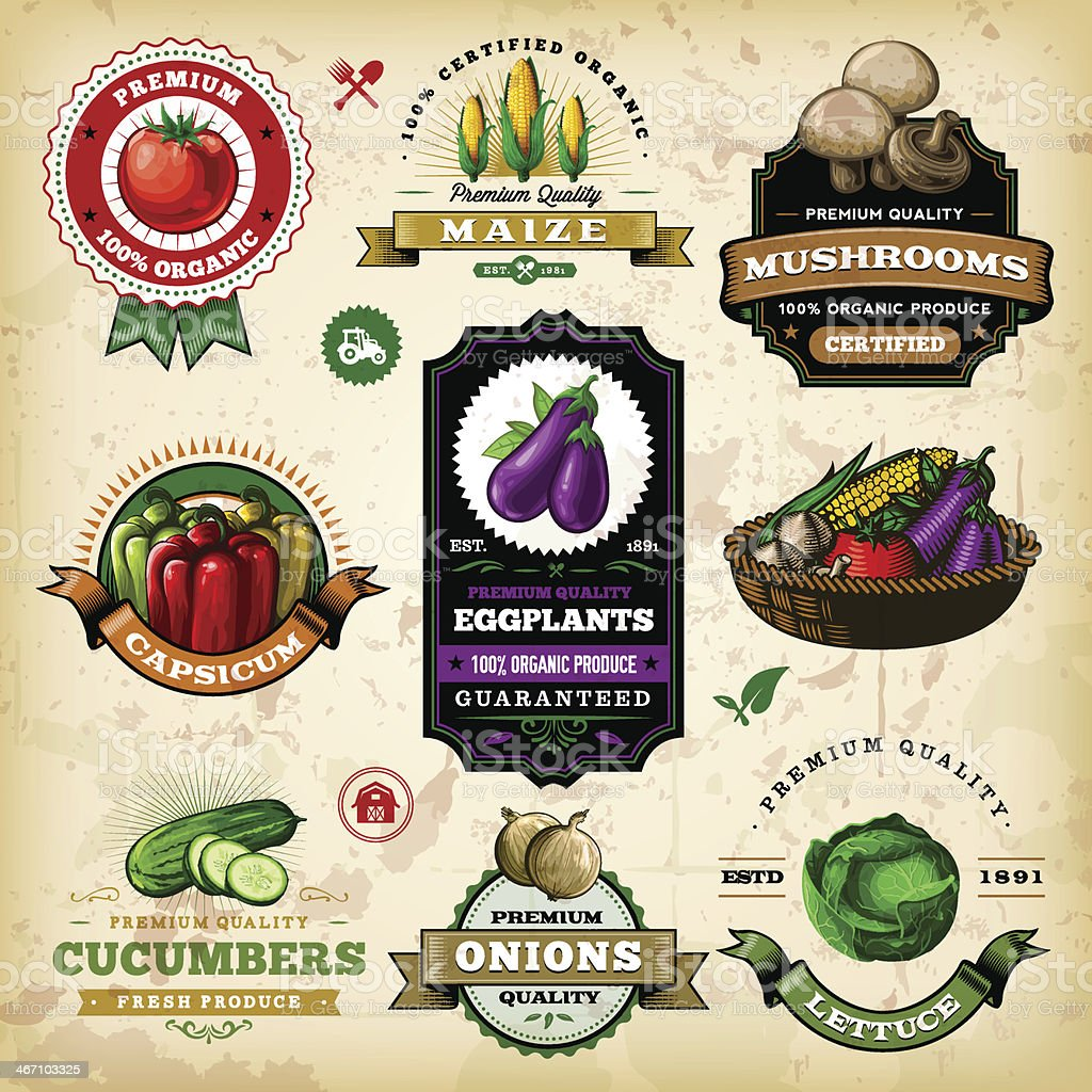 Assorted Vegetable Labels vector art illustration