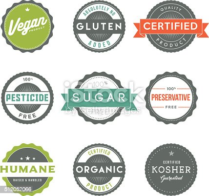 A set of nine different food labels: Vegetarian, Sugar Free, Low Sodium, Organic, Hormone Free, Certified Halal, GMO Free, Gluten Free, and Quality Certified. Download includes a CMYK AI10 EPS vector file as well as a high resolution JPEG (sized a minimum of 1900 x 2800 pixels).