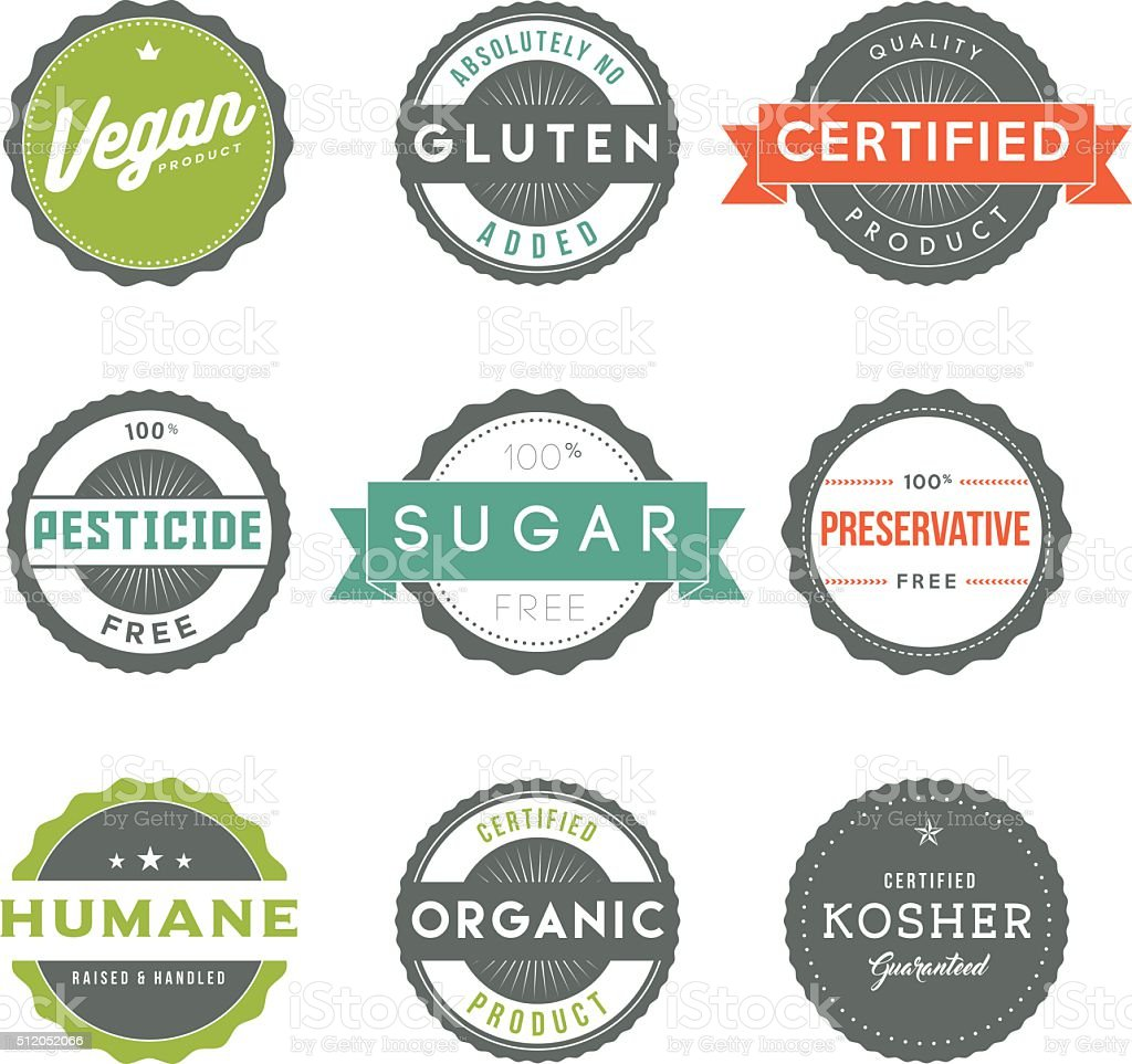 Assorted Vintage Food Information Labels Icon Set vector art illustration