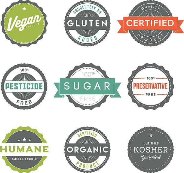 Assorted Vintage Food Information Labels Icon Set vector art illustration