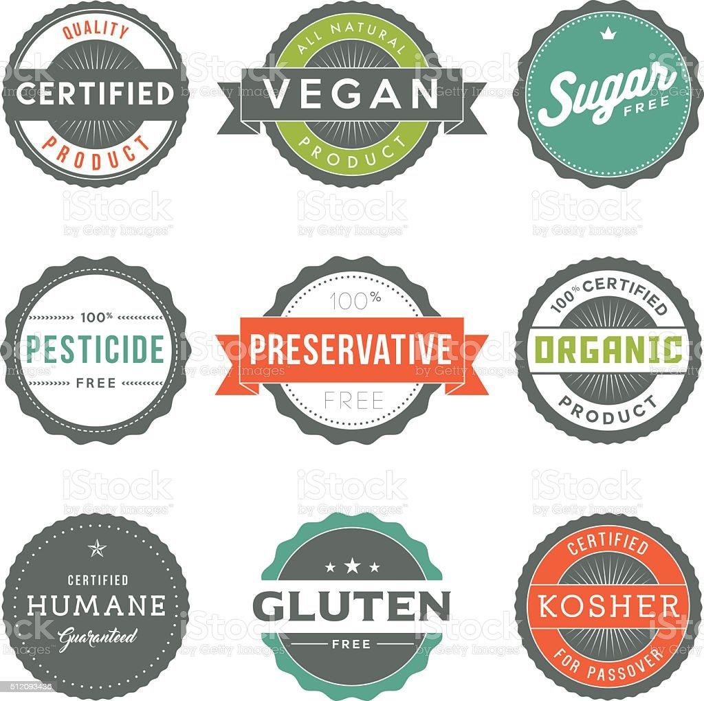 Surtido de Vintage etiquetas conjunto de iconos de comida información - ilustración de arte vectorial