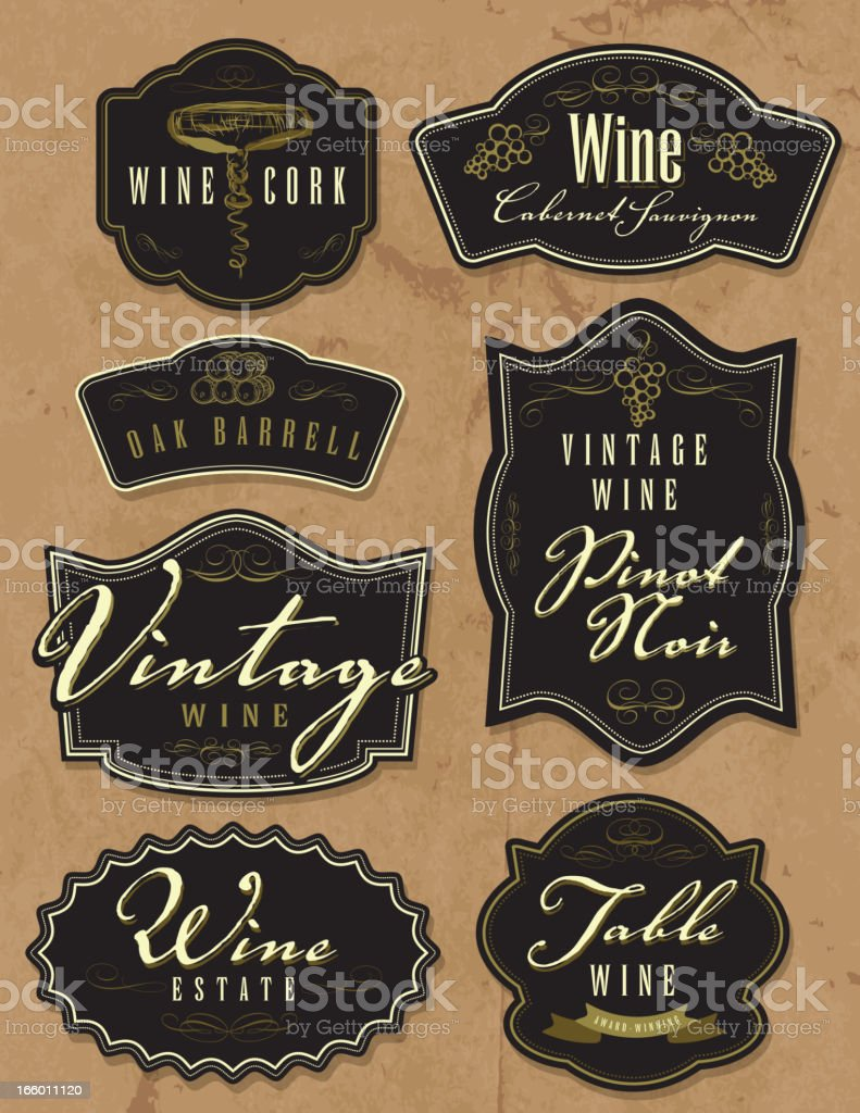 Assorted vintage wine bottle labels on paper background royalty-free stock vector art