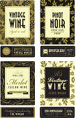 Vector illustration of a set of assorted retro wine bottle labels. Slightly textured. Download includes Illustrator 8 eps, high resolution jpg and png file. See my portfolio for other wine labels.
