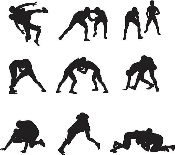 assorted wrestling people - wrestling stock illustrations, clip art, cartoons, & icons
