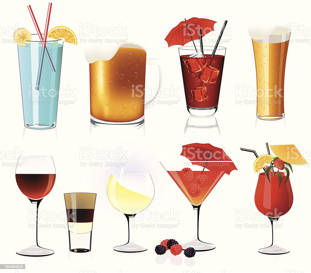 Assortment of alcoholic drinks in two rows royalty-free stock vector art