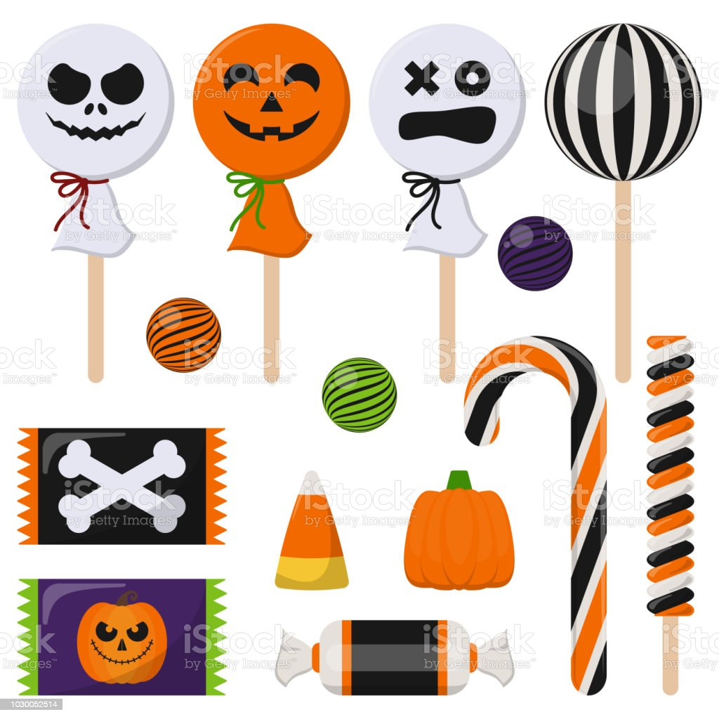Assortment of Colorful Halloween Candy