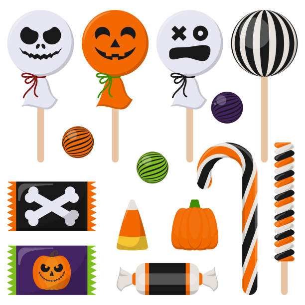 assortment of colorful halloween candy - halloween candy stock illustrations