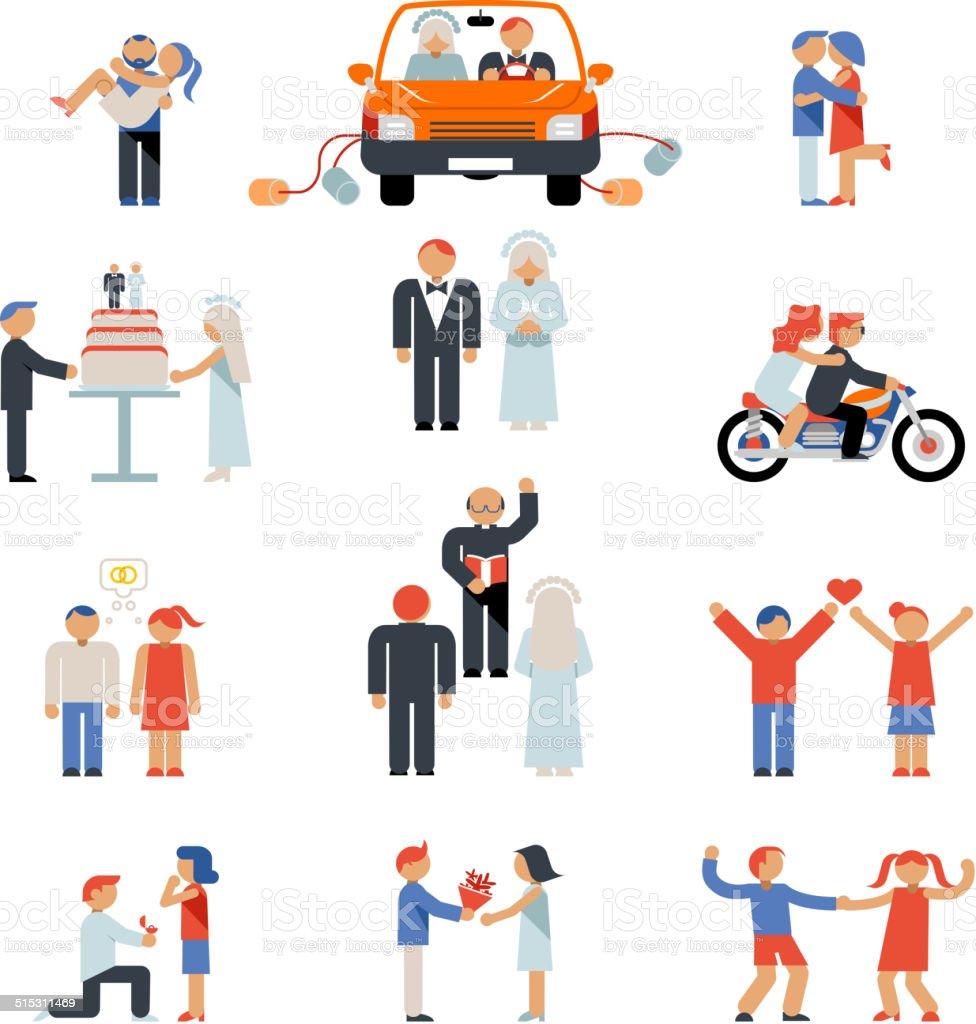 Assortment of Couple Icons vector art illustration