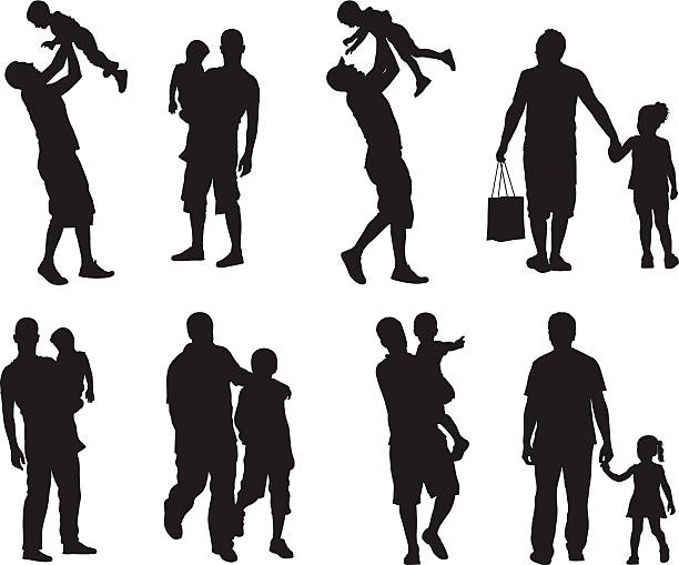 Assortment of silhouette images of father and children Fathers and children daughter stock illustrations