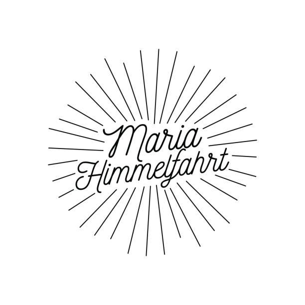 illustrazioni stock, clip art, cartoni animati e icone di tendenza di assumption of mary, maria himmelfahrt day vector illustration. - ferragosto