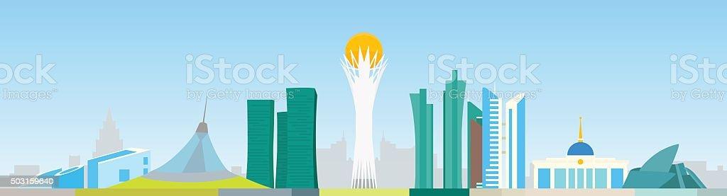Astana abstract skyline vector art illustration