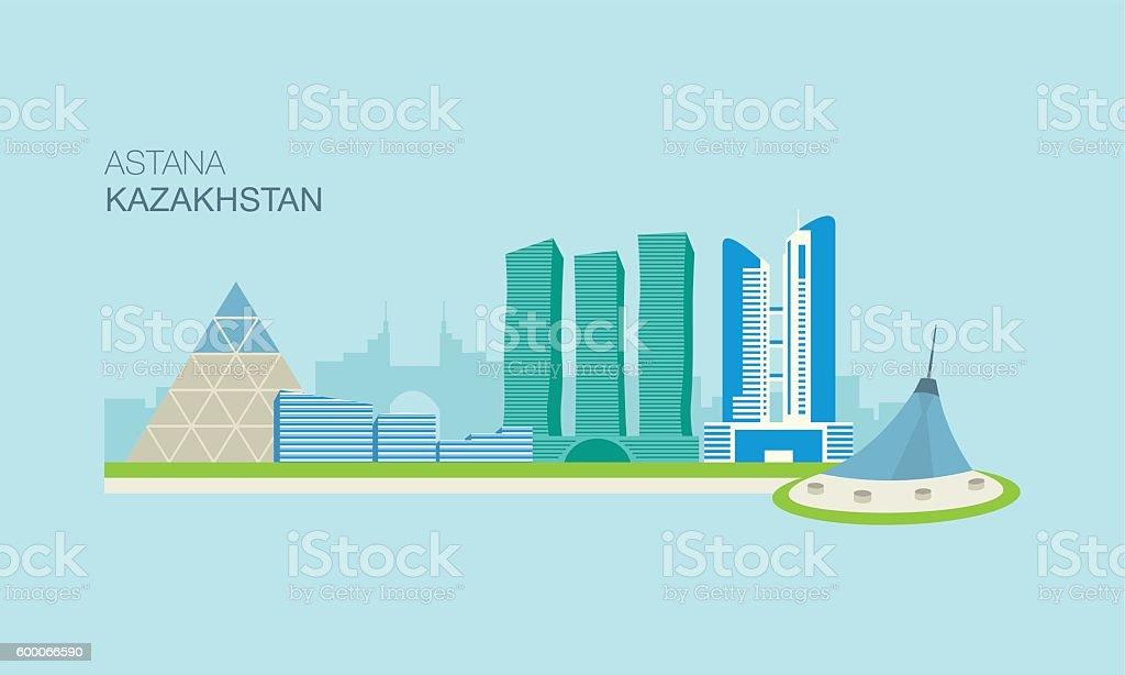 Astana city landscape view vector art illustration