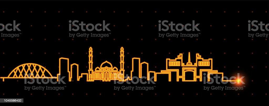 Astana Light Streak Skyline vector art illustration