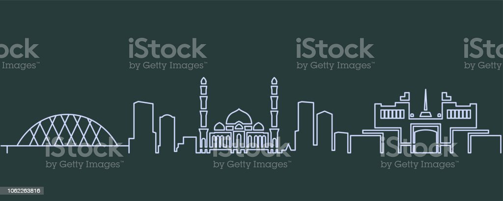 Astana Single Line Skyline vector art illustration