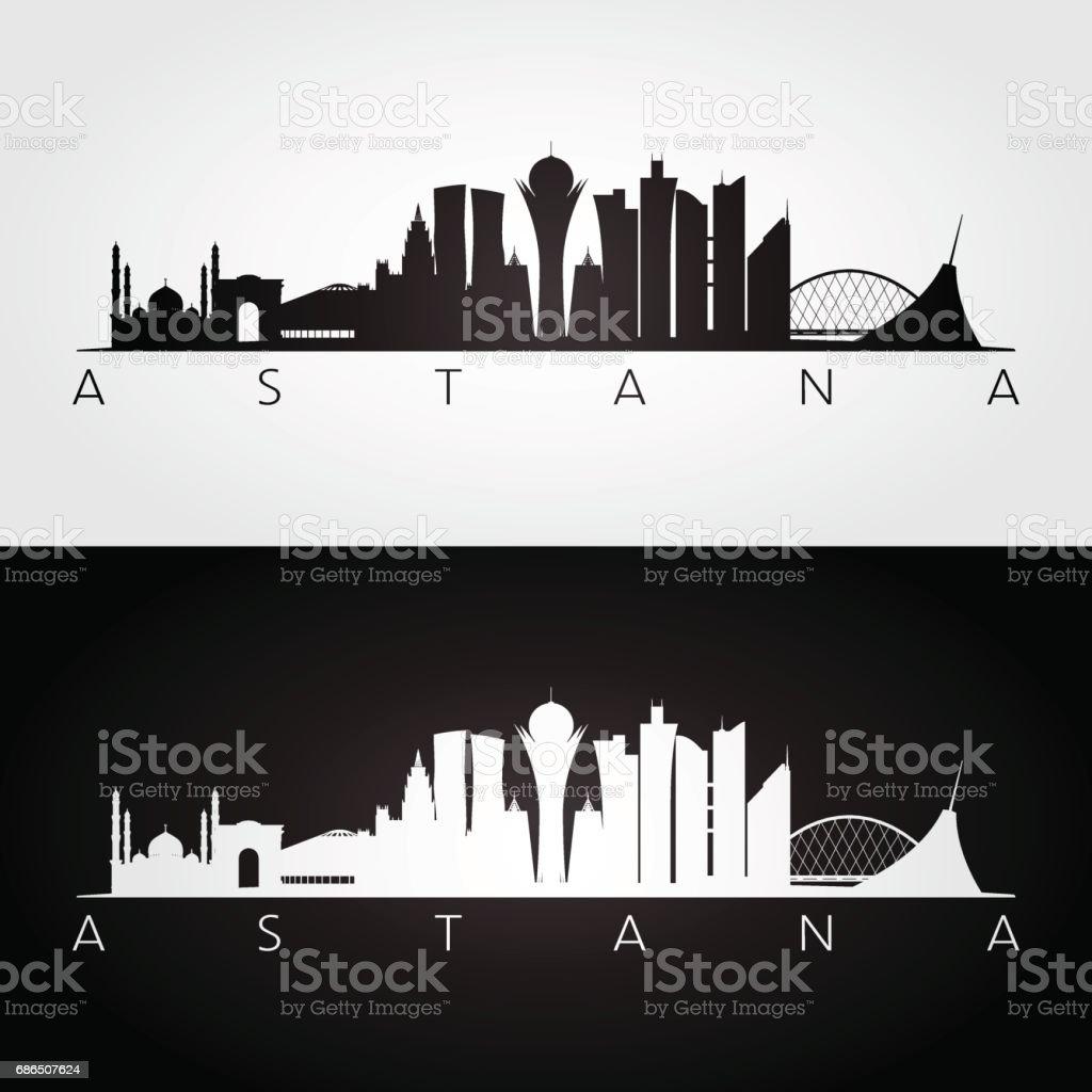 Astana skyline and landmarks silhouette, black and white design, vector illustration.