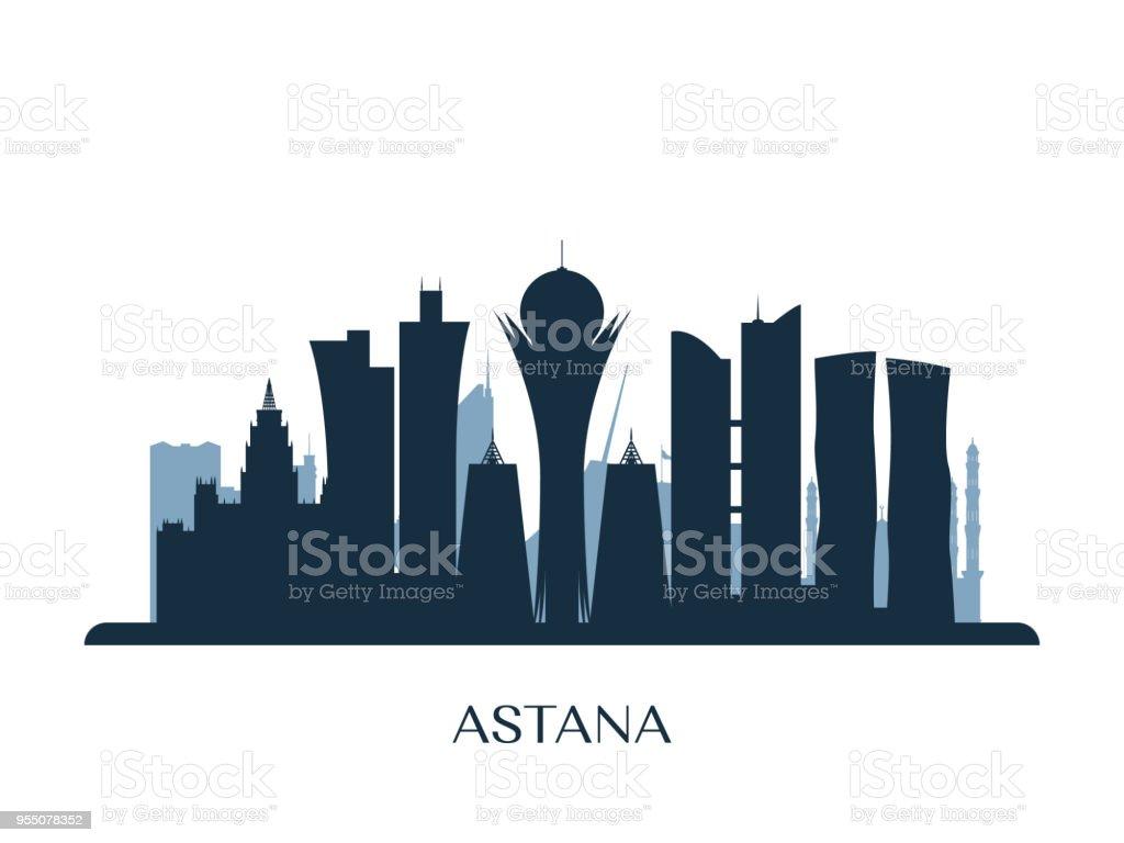 Astana skyline, monochrome silhouette. Vector illustration.