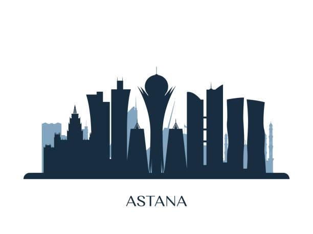 skyline von astana, monochrome silhouette. vektor-illustration. - kasachstan stock-grafiken, -clipart, -cartoons und -symbole