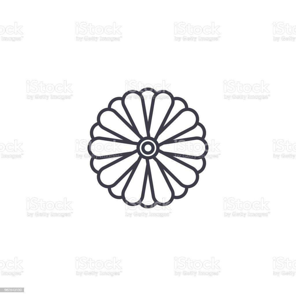Conceito de ícone linha flor áster. Áster flor plana vector sinal, símbolo, ilustração. - Vetor de Arte royalty-free