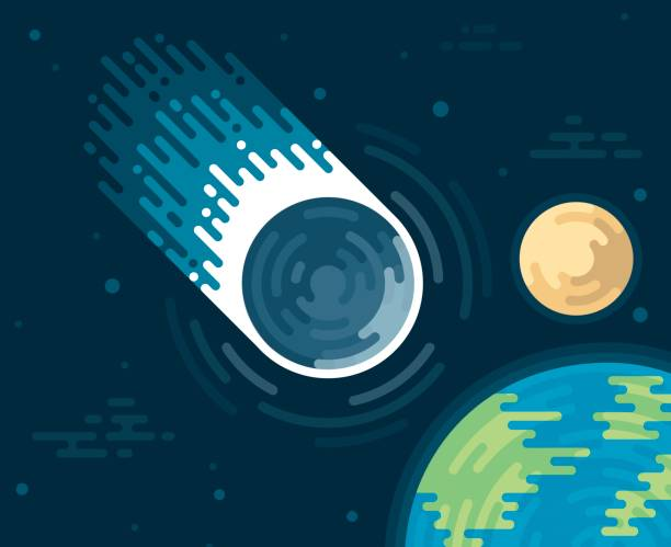 Asteroid or Comet Space vector art illustration