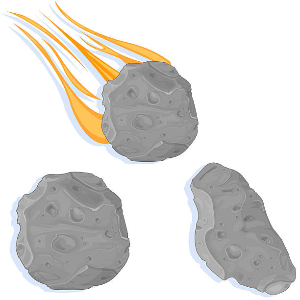 Asteroids and Meteors vector art illustration