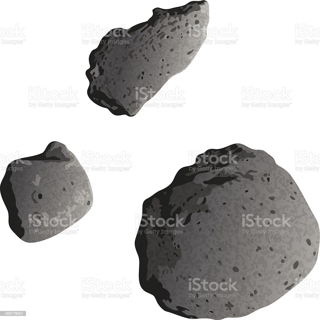 Asteroids, isolated on white vector art illustration