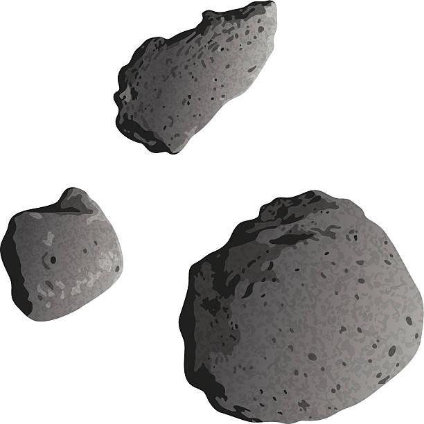 Asteroids, isolated on white vector art illustration