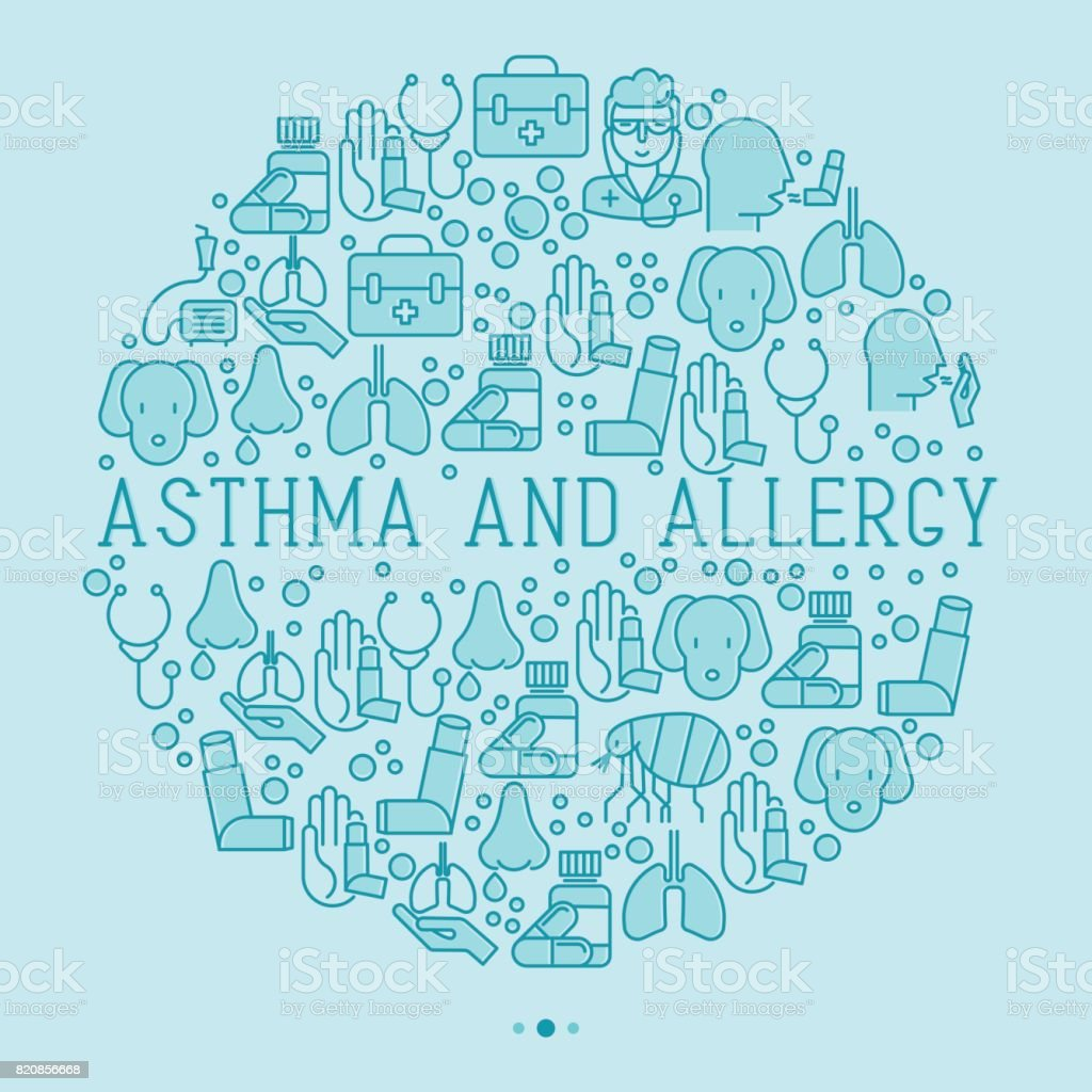 Asthma and allergy concept in circle for web page, banner of clinic, thin line icons with allergy symptoms and the most common allergens. Asthma inhaler. Vector illustration. vector art illustration