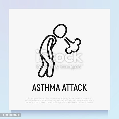 Asthma attack thin line icon. Shortness breathing. Symptom of respiratory disease. Modern vector illustration.