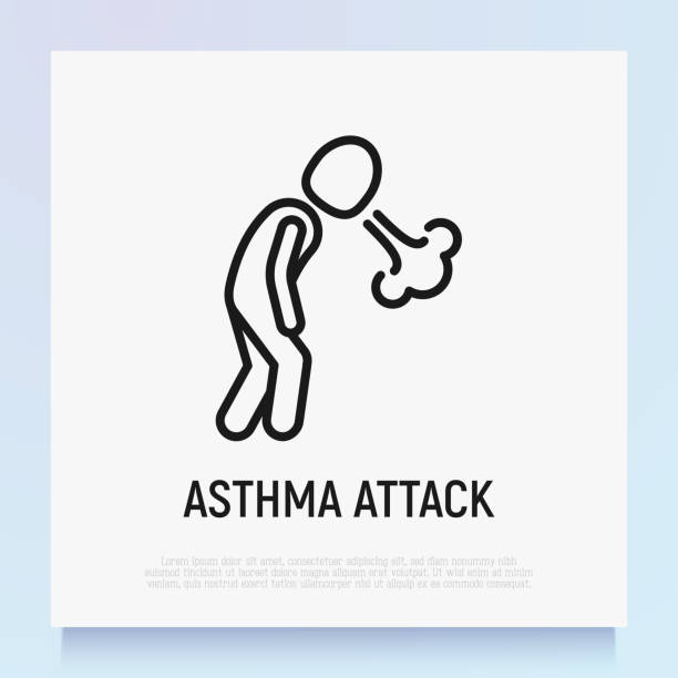 Asthma attack thin line icon. Shortness breathing. Symptom of respiratory disease. Modern vector illustration. Asthma attack thin line icon. Shortness breathing. Symptom of respiratory disease. Modern vector illustration. inhaling stock illustrations