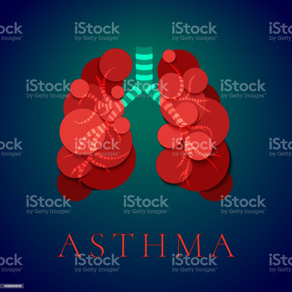 Asthma awareness poster vector art illustration