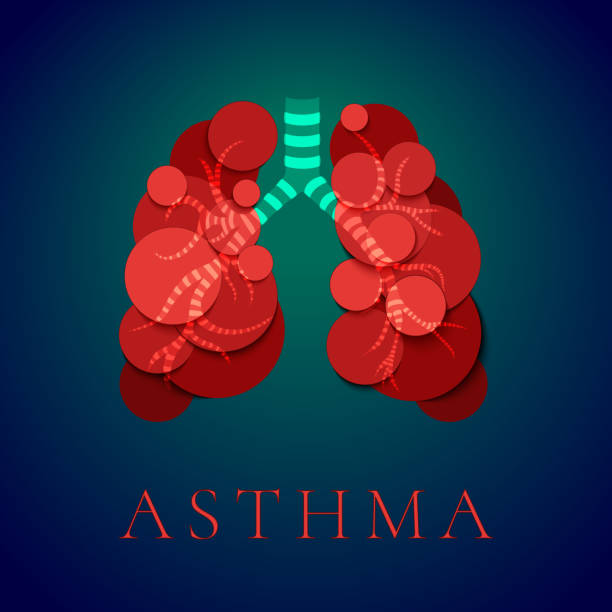 Asthma awareness poster Asthma awareness day poster with human lungs made of red bubbles on blue background. Bronchial disease symbol. Medical template for pulmonary clinics and centers. Vector illustration. human lung stock illustrations