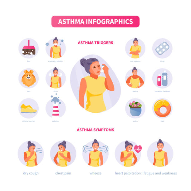 Asthma infographics vector Female character with symptoms of asthma. Asthma triggers. Medical vector illustration, poster chronic illness stock illustrations