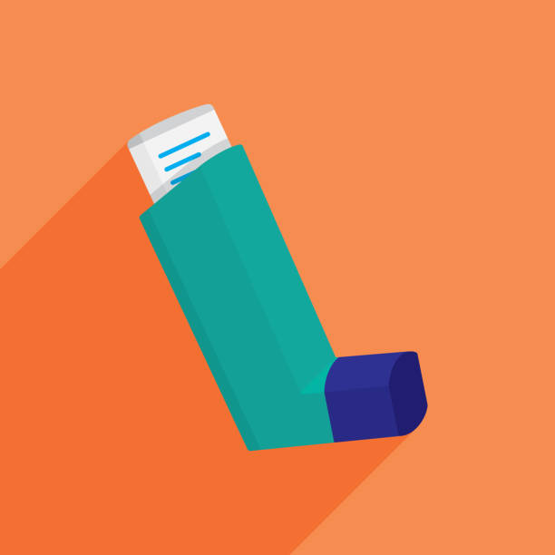Asthma Inhaler Icon Flat Vector illustration of an asthma inhaler against an orange background in flat style. inhaling stock illustrations