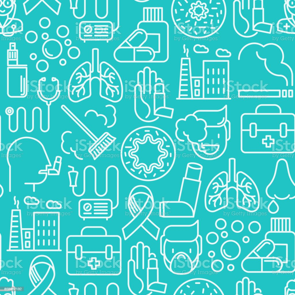 Asthma seamless pattern with thin line icons: air pollution, smoking, respirator, therapist, inhaler, bronchi, allergy symptoms and allergens. Vector illustration. vector art illustration