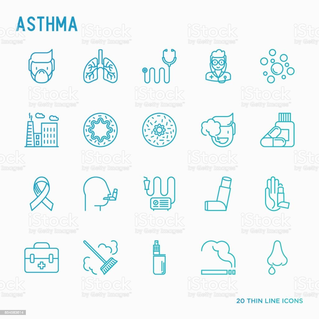 Asthma thin line icons: air pollution, smoking, respirator, therapist, inhaler, bronchi, allergy symptoms and allergens. Vector illustration. vector art illustration